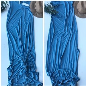 Blue sleeveless maxi dress